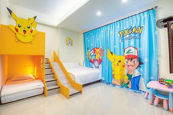 童樂園親子民宿的寶可夢房,有皮卡丘溜滑梯