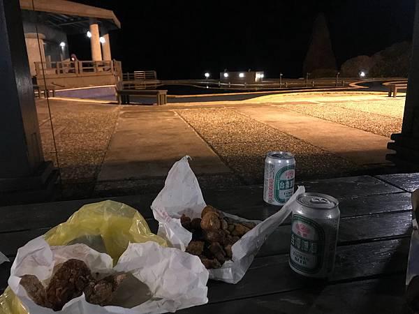 鹹酥雞配啤酒-綠島朝日溫泉
