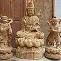 訂製神像 觀世音菩薩 四尺二 與 金童玉女 三尺六  樟木 原木本色 畫金