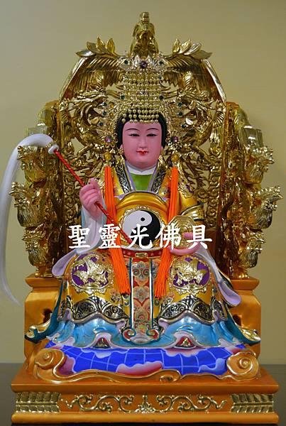 訂製神像 地母娘娘 一尺六 身坐九鳳椅 活眼 植髮 珍珠漆彩繪 1