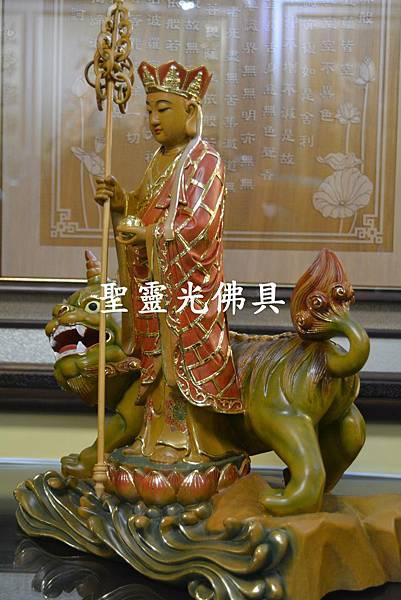 訂製神像 地藏王與諦聽 樟木 一尺三 淡彩描金4