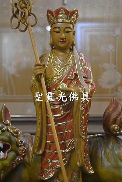 訂製神像 地藏王與諦聽 樟木 一尺三 淡彩描金1