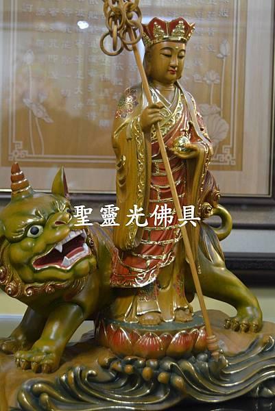 訂製神像 地藏王與諦聽 樟木 一尺三 淡彩描金3