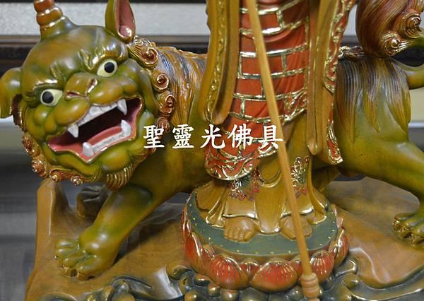 訂製神像 地藏王與諦聽 樟木 一尺三 淡彩描金2