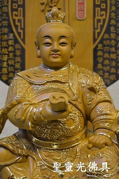 訂製神像 太子爺 手持兵書 一尺三 樟木 原木本色描金