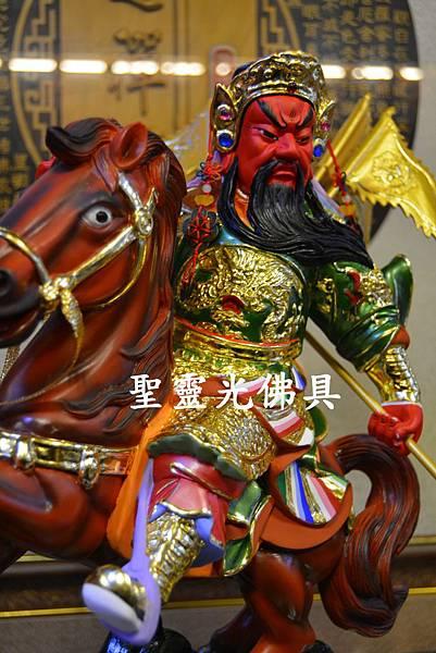 訂製神像 關羽騎赤兔馬 樟木一尺六  珍珠漆彩繪1