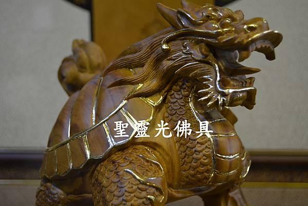 訂製木雕 龍龜 八吋 樟木 原木本色 描金5