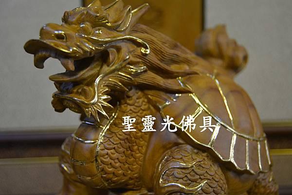 訂製木雕 龍龜 八吋 樟木 原木本色 描金2