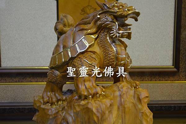 訂製木雕 龍龜 八吋 樟木 原木本色 描金