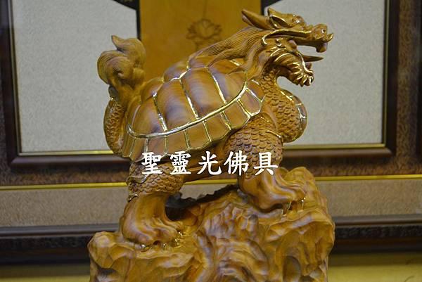 訂製木雕 龍龜 八吋 樟木 原木本色 描金1