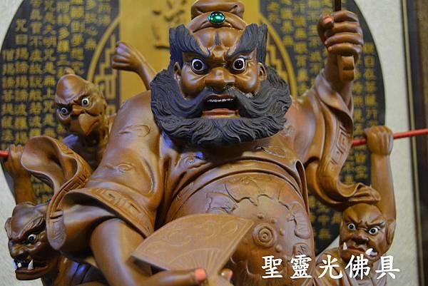 訂製神像 鍾馗領五鬼納寶運財 樟木 一尺六 原木本色2