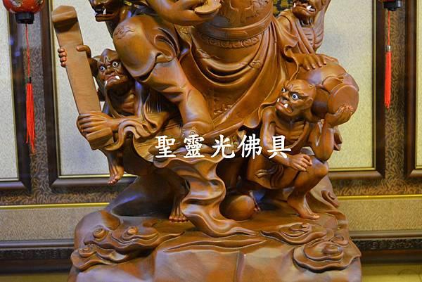 訂製神像 鍾馗領五鬼納寶運財 樟木 一尺六 原木本色4