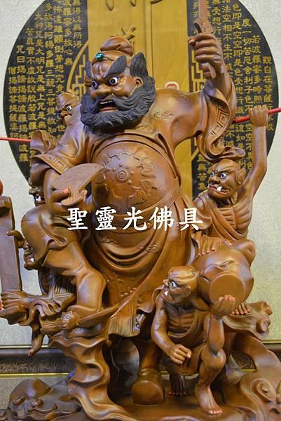 訂製神像 鍾馗領五鬼納寶運財 樟木 一尺六 原木本色1