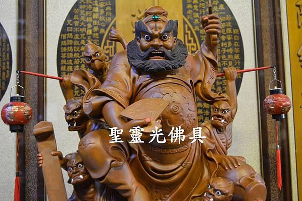訂製神像 鍾馗領五鬼納寶運財 樟木 一尺六 原木本色3