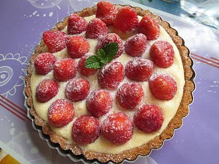 草莓杏仁奶油派