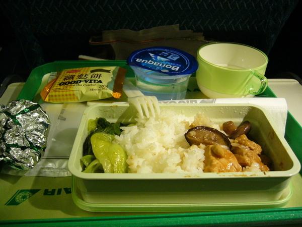 機上晚餐:香菇雞飯