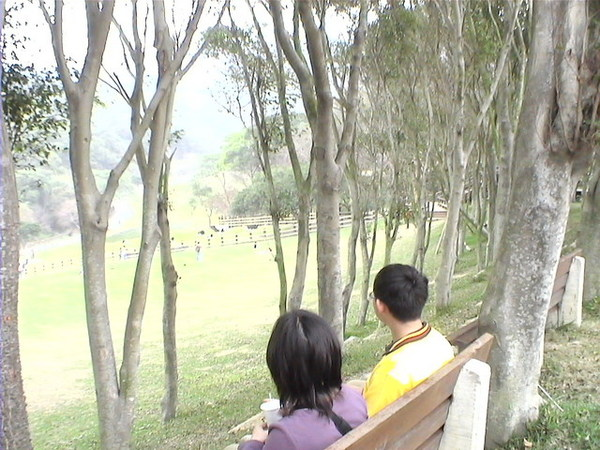 老夫老妻一起坐著看風景--是我跟小老弟啦~