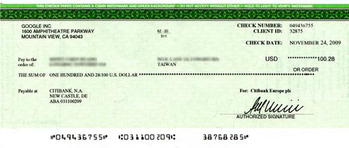 Google AdSense 美金支票