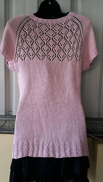 格紋V領蕾絲上衣 (3)