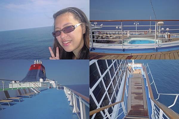 到甲板上曬太陽