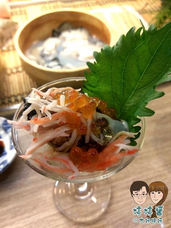 合掌村日式料理炙燒厚岸生蠔蚵仔牡蠣鮭魚卵蟹肉棒黑豆紫蘇葉