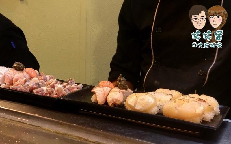合掌村日式料理炙燒干貝松葉蟹膏鮭魚握壽司明太子
