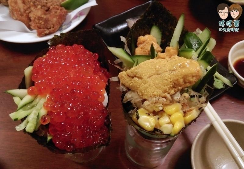 三味食堂 鮭魚卵手卷 海膽手卷