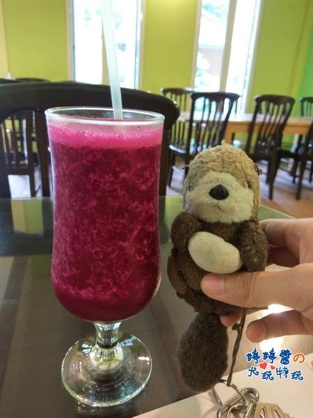 苗栗岩川森林民宿莊園餐廳岩川元氣早餐火龍果汁