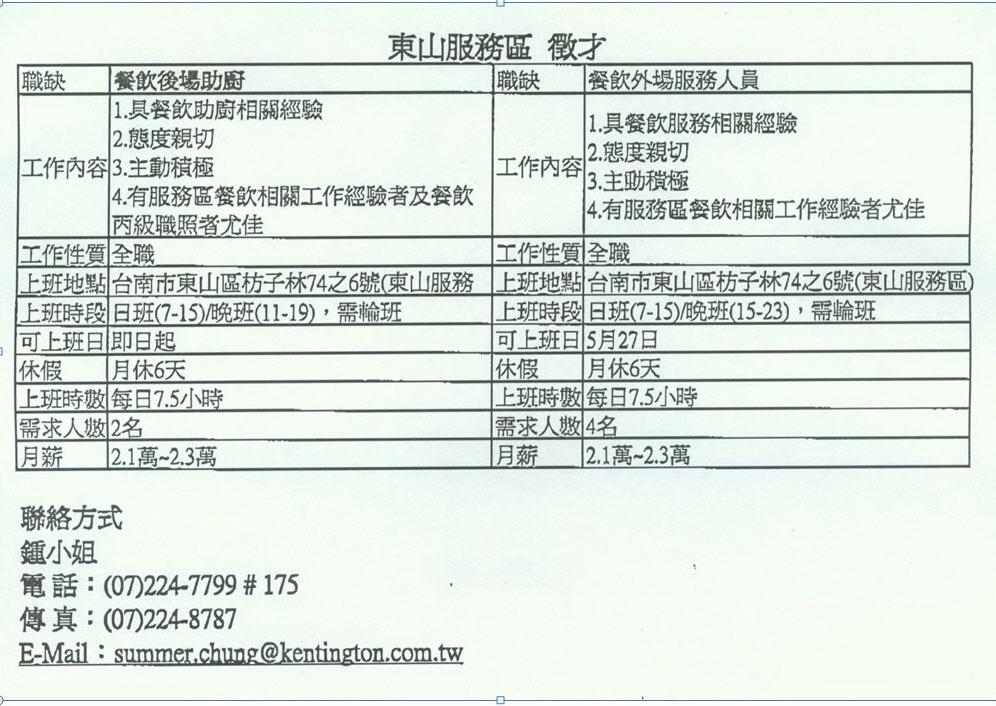 東山休息站徵才2013-3-20