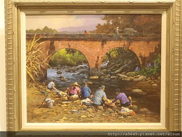 溪邊洗衣的婦女