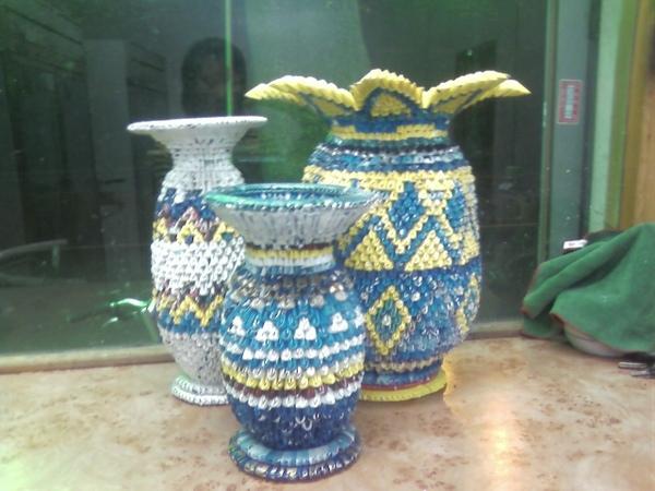 三角摺紙作品集-花瓶合照