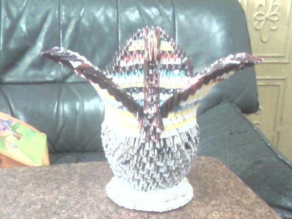 三角摺紙作品集-天鵝置物籃
