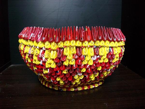 三角摺紙-五角型置物籃
