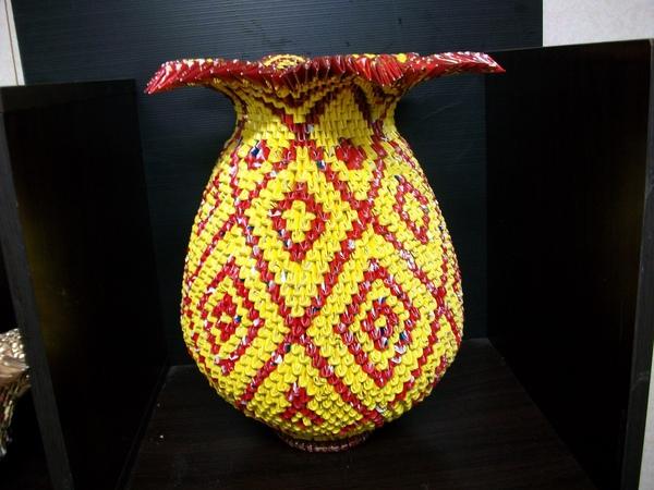三角摺紙-紅黃系列福氣花瓶