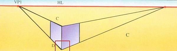 兩點透視(two-point perspective), 成角透視 畫法C