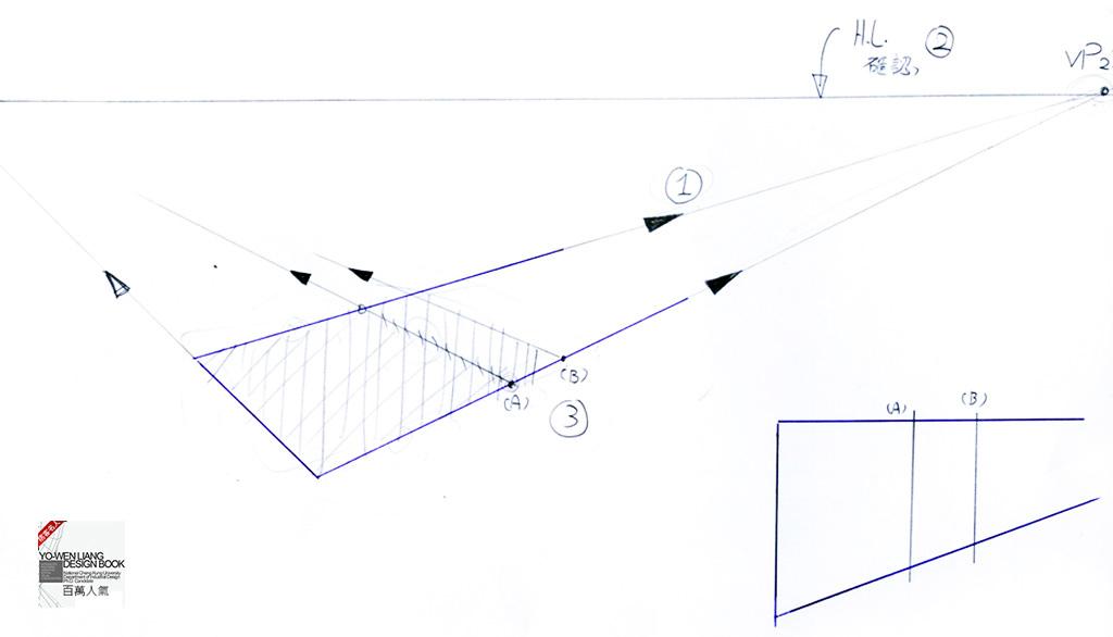 透視學 (perspective) 透視法教學畫法講義5: 判斷透視正確性與透視的造型比例分割,對角線中心點 (練習,Poe,攝影,英文,梁又文老師設計教學系列)5