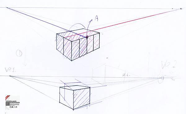 透視學 (perspective) 透視法教學畫法講義5: 判斷透視正確性與透視的造型比例分割,對角線中心點 (練習,Poe,攝影,英文,梁又文老師設計教學系列)12