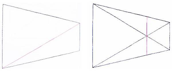 透視學 (perspective) 透視法教學畫法講義5: 判斷透視正確性與透視的造型比例分割,對角線中心點 (練習,Poe,攝影,英文,梁又文老師設計教學系列)18