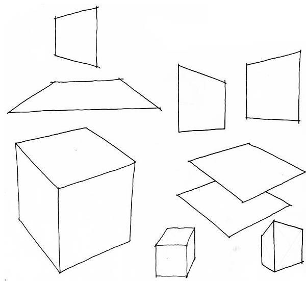 透視學 (perspective) 透視法教學畫法講義5: 判斷透視正確性與透視的造型比例分割,對角線中心點 (練習,Poe,攝影,英文,梁又文老師設計教學系列)23