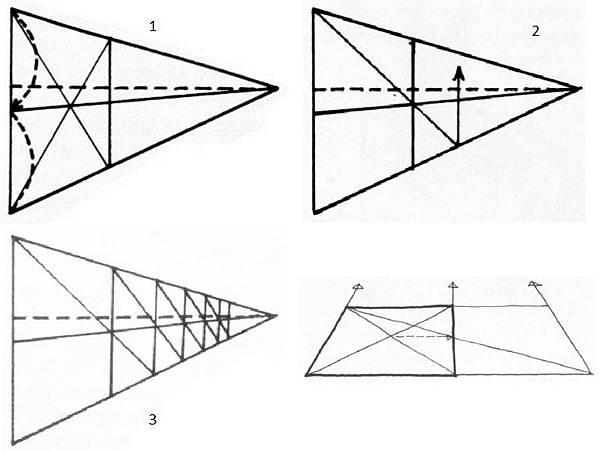 透視學 (perspective) 透視法教學畫法講義6-1,透視立體造型比例增加,對角線中心點 (設計表現技法,手繪練習,Poe,梁又文老師)3