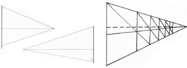 透視學 (perspective) 透視法教學畫法講義6-1,透視立體造型比例增加,對角線中心點 (設計表現技法,手繪練習,Poe,梁又文老師)6