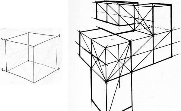 透視學 (perspective) 透視法教學畫法講義6-1,透視立體造型比例增加,對角線中心點 (設計表現技法,手繪練習,Poe,梁又文老師)7