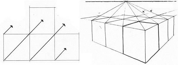 透視學 (perspective) 透視法教學畫法講義6-1,透視立體造型比例增加,對角線中心點 (設計表現技法,手繪練習,Poe,梁又文老師)8