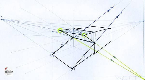 透視學 (perspective) 透視法教學畫法講義6-2,斜邊透視屋頂造型,對角線中心點 (設計表現技法,手繪練習,Poe,梁又文老師)3