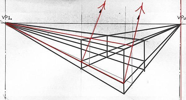 透視學 (perspective) 透視法教學畫法講義6-2,斜邊透視屋頂造型,對角線中心點 (設計表現技法,手繪練習,Poe,梁又文老師)4