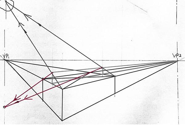 透視學 (perspective) 透視法教學畫法講義6-2,斜邊透視屋頂造型,對角線中心點 (設計表現技法,手繪練習,Poe,梁又文老師)5