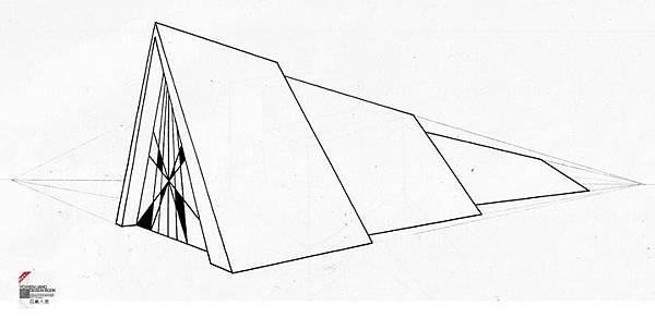 透視學 (perspective) 透視法教學畫法講義6-2,斜邊透視屋頂造型,對角線中心點 (設計表現技法,手繪練習,Poe,梁又文老師)7