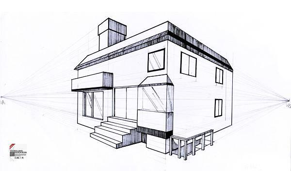 透視學 (perspective) 透視法教學畫法講義6-2,斜邊透視屋頂造型,對角線中心點 (設計表現技法,手繪練習,Poe,梁又文老師)8