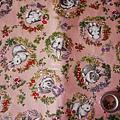 蜜桃粉色底棉布
