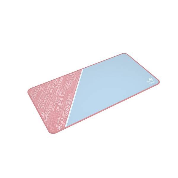 ROG Sheath PNK LTD滑鼠墊採用獨特配色,大面積灰色設計更藏有防汙巧思,獨樹一幟的粉色ROG電域文圖紋盡顯個人風格
